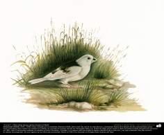 "Pintura ""Un ave"" - Óleo sobre lienzo; artista Kamal ol-Molk (24)"