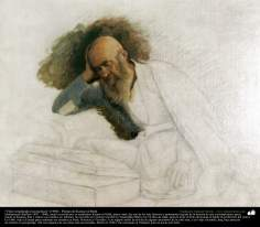 """Old studying (unfinished)"" (1900) - Artist: Kamal ol-Molk"