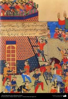 """اسلامی فن - """"ظفرنامہ تیموری"""" نام کی کتاب سے ایک مینیاتور پینٹنگ (تصویرچہ) - ۱"""