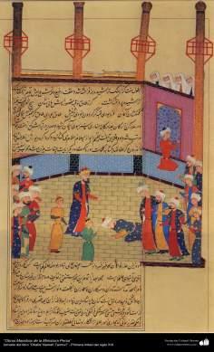 """اسلامی فن - """"ظفرنامہ تیموری"""" نام کی کتاب سے ایک مینیاتور پینٹنگ (تصویرچہ) - ۵"""