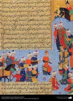 """اسلامی فن - """"ظفرنامہ تیموری"""" نام کی کتاب سے ایک مینیاتور پینٹنگ (تصویرچہ) - ۳"""