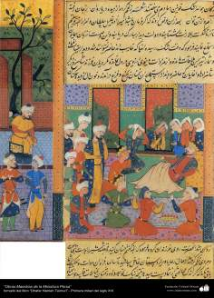 """اسلامی فن - """"ظفرنامہ تیموری"""" نام کی کتاب سے ایک مینیاتور پینٹنگ (تصویرچہ) - ۴"""