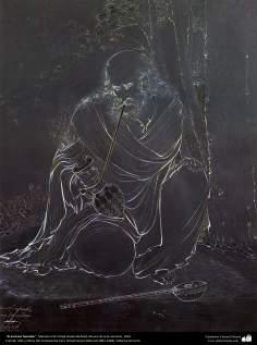 الفن الإسلامي - تحفة المنمنمات الفارسية - أستاذ حسين بهزاد - عجوز مدخن - 110
