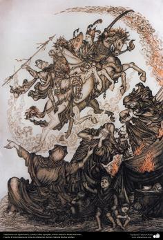 Ourivesaria iraniana (Qalamzani), Quadro de cobre em relevo, Artista: Mestre Mahdi Alamdari - 113