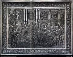 اسلامی ہنر - دھات پر حکاکی اور فنکاری کے ذریعے تانبے کے پلیٹ پر ابھرے نقوش (فن قلم زنی) - ۱۱۹