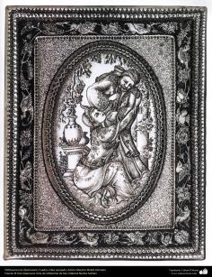 Art iranien - estampage(Ghalam zani) -  Cadre de cuivre en relief -artiste:Mahdi Alamdari-120