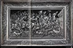 Art iranien - estampage(Ghalam zani) -  Cadre de cuivre en relief -artiste:Mahdi Alamdari-123