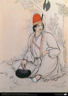 """Nur Ali Sha"" - Miniatura de Ostad Hossein Behzad. Museu Behzad, 1951 - 124"