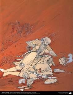 الفن الإسلامي - تحفة المنمنمات الفارسية - أستاذ حسين بهزاد - رستم وسهراب - 127
