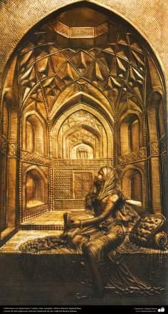 Orfebrería iraní (Qalamzani), Cuadro cobre repujado, Artista: Maestro Rajabali Raee - 127