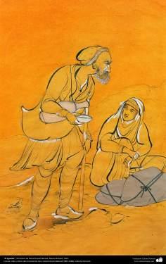 El aguador, Miniatura de Ostad Hosein Behzad, Museo Behzad, 1954 -1Art islamique - un chef-d'œuvre du  minotaur persan - artiste: Professeur Hossein Behzad -Cruche d'eau-13030