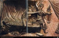 Orfebrería iraní (Qalamzani), Cuadro cobre repujado, Artista: Maestro Rajabali Raee -131