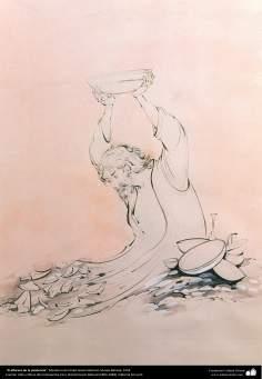 الفن الإسلامي - تحفة المنمنمات الفارسية - أستاذ حسين بهزاد - الفخار - 132
