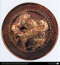 Ourivesaria iraniana (Qalamzani), Quadro de cobre em relevo, Artista: Mestre Rajabali Raee - 132
