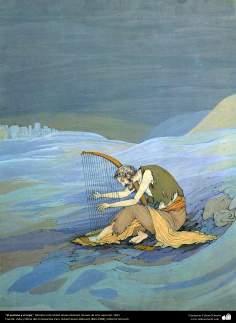 El anciano y el arpa, Miniatura de Ostad Hosein Behzad, Museo de arte nacional, 1955 -133