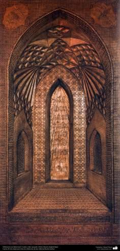 Ourivesaria iraniana (Qalamzani), Quadro de cobre em relevo, Artista: Mestre Rajabali Raee - 133