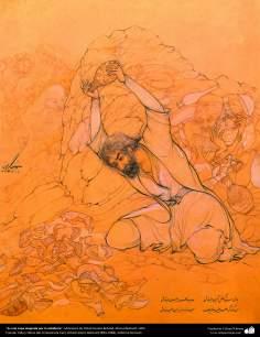 الفن الإسلامي - تحفة المنمنمات الفارسية - أستاذ حسين بهزاد - كوب من الثناء والحكمة