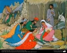 """اسلامی ہنر - استاد حسین بہزاد کی مینیاتور پینٹنگ """"حضرت عیسی کی ولادت"""" ، ایران سن۱۹۵۸ء"""
