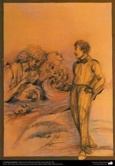 La hambruna de 1916, Miniatura de Ostad Hosein Behzad, Museo Behzad, 1961 -151