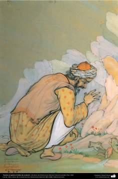 Anoche se quebró el ánfora de cerámica, Miniatura de Ostad Hosein Behzad, Colección privada, Paris, 1961 -154