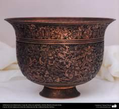 Orfebrería iraní (Qalamzani), Copa de cobre con grabados, Artista: Maestro Hossein Dalvi - 155