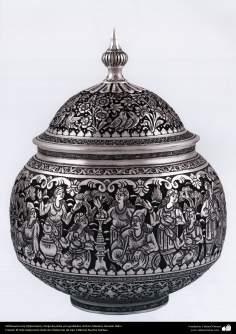 Ourivesaria iraniana (Qalamzani), Vasilha de prata com gravura, Artista: Mestre Hossein Dalvi - 156