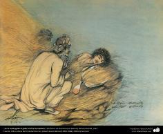 """"""" Na madrugada o galo anúncio a manhã"""" - Miniatura de Ostad Hossein Behzad, Museu Behzad, 1961 - 158"""