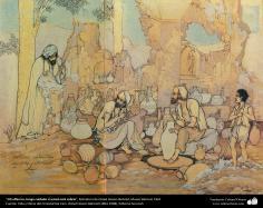 """""""Oh oleiro,  tenha cuidado se você está sóbrio"""" - Miniatura de Ostad Hossein Behzad, Museu Behzad, 1961 - 162"""