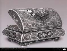 Ourivesaria iraniana (Qalamzani), Cofre de prata, Artista: Mestre Ali Saee - 164