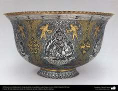 Iranian art (Qalamzani), Silver vessel with engravings and gold plated, Artist: Master Ali Saee -165