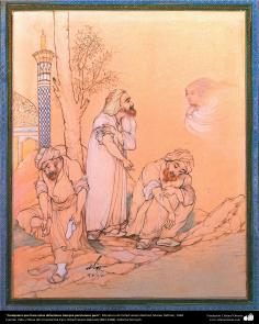 """""""Quem faz essas abluções permanecem sempre puros"""", Miniatura de Ostad Hossein Behzad, Museu Dafineh, 1964 - 166"""