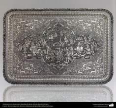 Ourivesaria iraniana (Qalamzani), Bandeja de prata, Artista: Mestre Ali Saee - 167