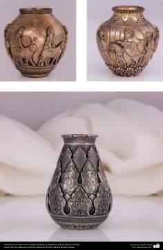 Ourivesaria iraniana (Qalamzani), Vasos de prata com gravura, Artista: Mestre Ali Saee - 170