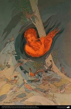 الفن الإسلامي - تحفة المنمنمات الفارسية - أستاذ حسين بهزاد - الناي - مجموعة خاصة - باريس - 1948 - 170
