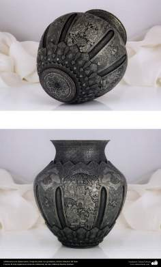 Ourivesaria iraniana (Qalamzani), Vaso de prata com gravura, Artista: Mestre Ali Saee - 171