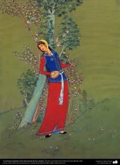 La primavera tocando el setar (instrumento de tres cuerdas), Miniatura de Ostad Hosein Behzad, Museo Behzad, 1965 - 171
