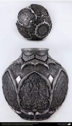 Iranian art (Qalamzani), Silver jug with gold trim, Artist: Master Reza Ghaderran -172