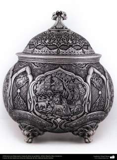 Ourivesaria iraniana (Qalamzani), Vaso de prata com gravura. Artista: Mestre Reza Ghaderran - 173