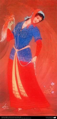 هنر اسلامی، شاهکار مینیاتور فارسی، دختر و پرنده، اثر استاد حسین بهزاد، 1960 -177