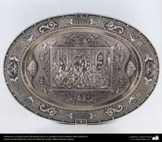 Orfebrería iraní (Qalamzani), Bandeja de plata con grabados. Artista: Maestro Reza Ghaderran -179