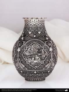 Iranian art (Qalamzani), Carved silver flower pot, Artist: Master Reza Ghaderran -180