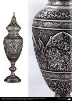 Ourivesaria iraniana (Qalamzani),  turíbulo (Sonboldan) de prata com gravura. Artista: Mestre Reza Ghaderran - 181