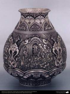 Ourivesaria iraniana (Qalamzani), Vaso de prata com gravura. Artista: Mestre Reza Ghaderran - 182-2