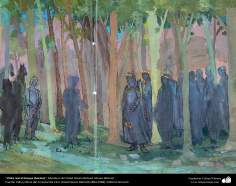 Islamic Art, Masterpieces of Persian Miniature, Artist: Ostad Hosein Behzad, Royal visit to the forest (sketch), Behzad Museum – 187