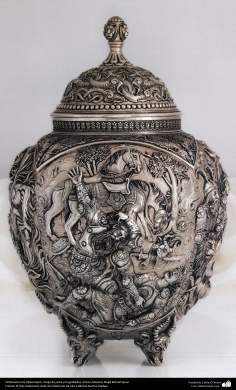 Iranian art (Qalamzani), The carved silver vase, Artist: Master Majid bahramipour -189