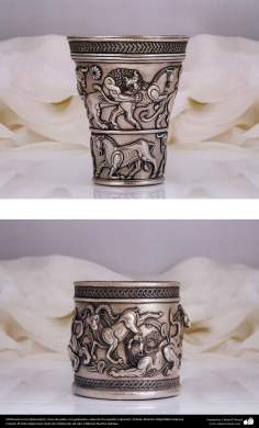 Iranian art (Qalamzani), The Engraved silver vase that it's copy of Persepolis (upper), Engraved silver vase (lower), Artist: Master Majid bahramipour -190