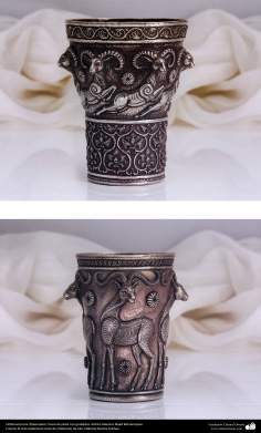 Ourivesaria iraniana (Qalamzani), Vaso de prata com gravura. Artista: Mestre Majid Bahramipour - 191