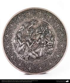 Iranian art (Qalamzani), Carved silver plate, Artist: Master Majid Bahramipour -192