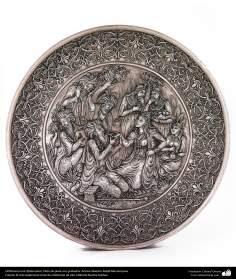 Ourivesaria iraniana (Qalamzani), Prato de prata com gravuras. Artista: Mestre Majid Bahramipour - 192