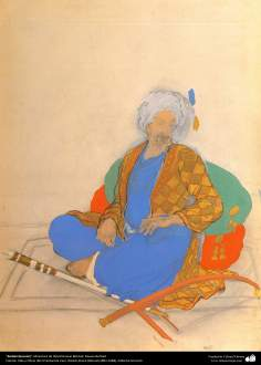 Rudaki (boceto), Miniatura de Ostad Hosein Behzad, Museo Behzad -193